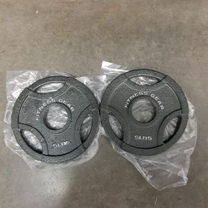 Two New 5lb Olympic Cast Iron Grip Weight Plates for Sale in San Jose, CA