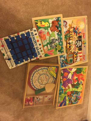 Big lot of Melissa & Doug puzzles and Memory Game Birthday Box for Sale in Plano, TX
