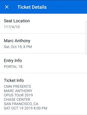 Marc Anthony 10/19 for Sale in South San Francisco, CA