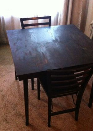 Wooden foldable square table +2 chairs for Sale in Portland, OR