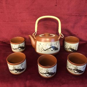 Vintage Tea Set Covered Ceramic Teapot, 5 Sipping Cups China Asia Japan Chikai Ceremony for Sale in San Diego, CA