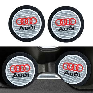BRAND NEW 2PCS JDM AUDI RUBBER CUP MAT WITH REAL CARBON FIBER EMBLEM for Sale in City of Industry, CA