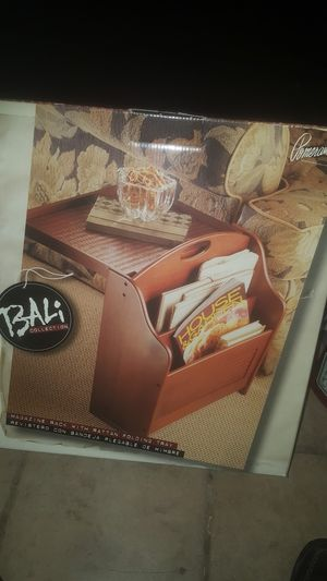 Bali magazine rack with Rattan folding tray for Sale in Chicago, IL