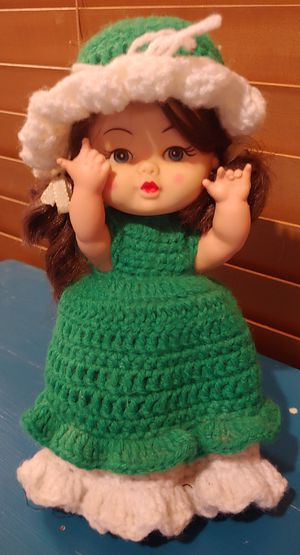 Small Vintage Plastic Doll w/Green & White Crocheted Dress for Sale in Austin, TX