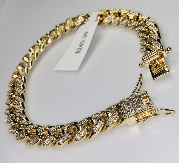 22k stainless steel 10mm Miami Cuban bracelet created with lab diamonds