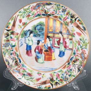 Antique Chinese Rose Mandarin Cabinet Plate Qing Dynasty 19thc for Sale in Miami, FL