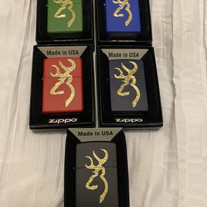 5-Zippos(Browning Deer Head Logo)(green,royal Blue,red,black And Navy Blue) for Sale in Cut Off, LA
