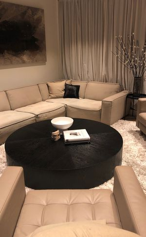 Restoration Hardware Modern Black Textured Wood Veneer Round Coffee Table for Sale in New York, NY