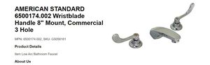 """AMERICAN STANDARD 6500174.002 WRISTBLADE HANDLE COMERCIAL 8"""" MOUNT 3 HOLE for Sale in San Jose, CA"""