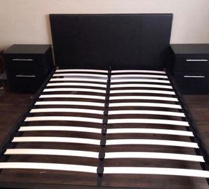 New queen bed frame and nightstands mattress is not included for Sale in Pompano Beach, FL