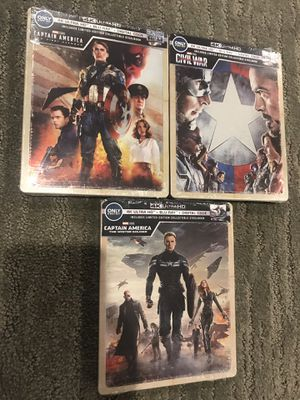 All 3 x Captain America 4K Blu-ray Steelbook s collection set for Sale in Monterey Park, CA