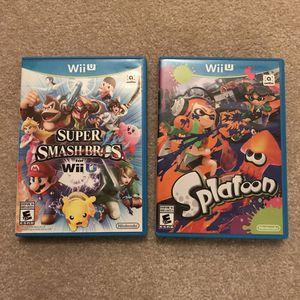 Smash bros wii u and splatoon nintendo wii u video games for Sale in Burtonsville, MD