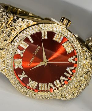 22k stainless steel Nugget watch and bracelet set created with lab diamonds for Sale in Las Vegas, NV
