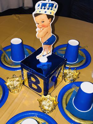 Baby Shower Centerpieces (Blue / Gold for Prince Theme) for Sale in Winston-Salem, NC