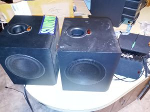 Two Klipsch subwoofer with Lucas film THX with four Klipsch Speakers for Sale in Tacoma, WA
