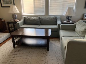 Living room set - Couches, coffee/end tables, lamps for Sale in Lincoln Acres, CA