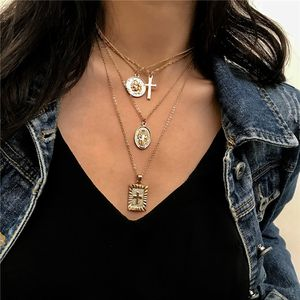 18K Gold Plated Bohemia Jesus Cross Necklace Multi 4 Layer Chain Charm Pendant Choker Necklace For Girls for Sale in Tustin, CA