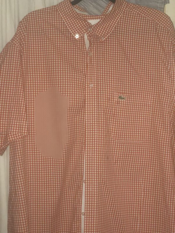 Lacoste orange and white gingham check