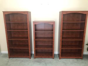 Bookshelves three pieces and the color is cherry for Sale in Tracy, CA