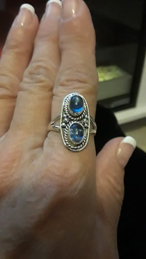 Beautiful 925 stamped blue gemstone ring size 7 and 1/2 for Sale in Riverview, FL