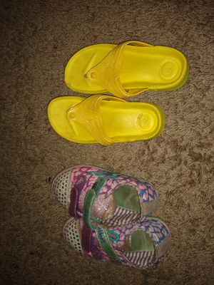 Free...Size 10 sketchers lighting shoes and yellow slippers.. for Sale in Pooler, GA