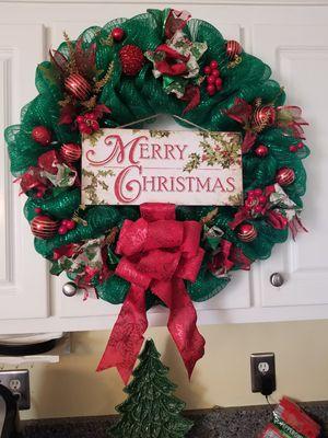 Merry Christmas Mesh Wreath for Sale in Garner, NC