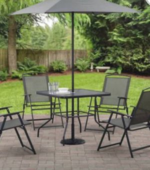 New!! Patio set, outdoor 6 pc dinning set, foldable patio dinning set, portable dinning outdoor set, backyard furniture, gray for Sale in Phoenix, AZ