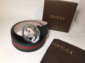 Gucci Red/ Green Black Leather Belt Authentic for Sale in Queens, NY