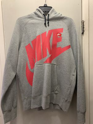 NIKE LOGO HOODIE PULLOVER GREY RED SIZE MEDIUM for Sale in Los Angeles, CA