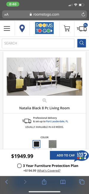 Living room set sofa and loveseat black and white for Sale in Fort Lauderdale, FL