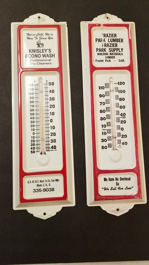 """👀🙋♂️ VINTAGE 1960's """"FRAZIER PARK LUMBER ~ SUPPLIES"""" & """"KNISLEY's ECONO WASH"""" WORKING THERMOMETER. COOL CLASSICS! ...asking $50.00 for Sale in Bakersfield, CA"""