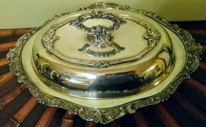 Baroque by Wallace 287 Oval Vege serving bowl,with lid,also Forbes Silver CO. USA 32 serving platter. for Sale in Austin, TX