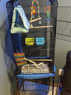 Bird Cage With Roller Stand And Opens On Top For Play Area for Sale in Lancaster,  OH