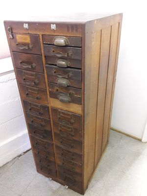 Rare antique vintage wooden machinist tool cabinet for Sale in Los Angeles, CA
