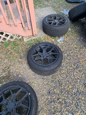 Kmc rims all black good condition 17s decenti tires as a bonus i will also include all black lug nuts ( cash, cash app only ) for Sale in North Plainfield, NJ