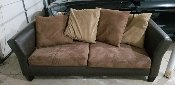 Mocha Brown Microfiber Couch / Sofa with Dark Brown Faux Leather ...
