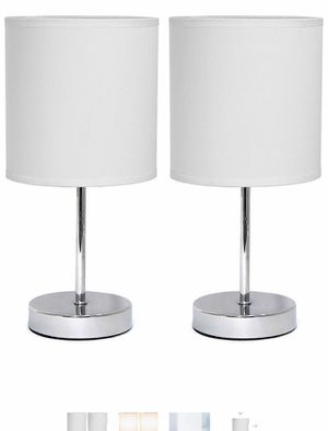 Simple Designs 2-Pack Chrome Table Lamp Set With White Fabric Shades for Sale in Los Angeles, CA