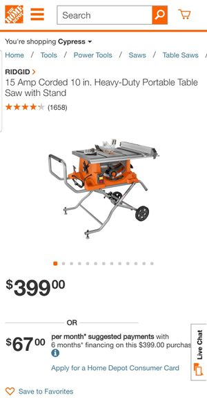 Rigid 15 Amp 10 in. Heavy-Duty Portable Table Saw for Sale in Anaheim, CA