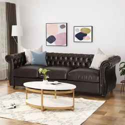 Brand New Espresso chesterfield Sofa Faux Leather for Sale in San Diego,  CA
