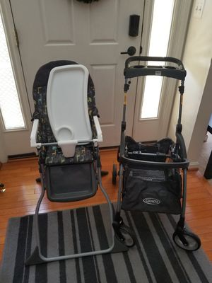 Graco carseat carrier and Cisco high chair for Sale in Clinton, MD
