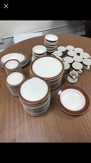 Lot of Anchor Hocking Shenango China Made, used for sale  New Castle PA brown rim plates bowls coffee cups for Sale