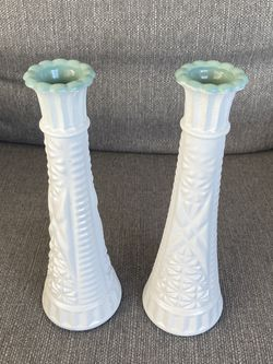 2 Glass Flower Vases, White & Coastal Green for Sale in San Diego,  CA