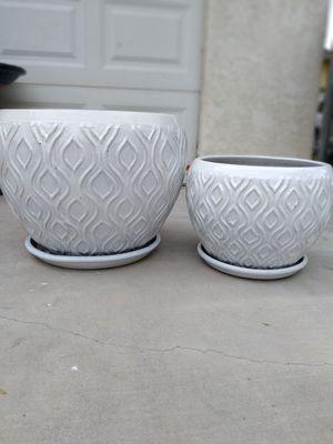 """New Planting Pot """"Sulton Weave Bowl White 20in. & 16in. w/Saucer"""" $130$ ObO😷 for Sale in San Bernardino, CA"""