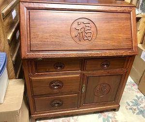 1950s carved antique teak Chinese secretary desk for Sale in El Cerrito, CA