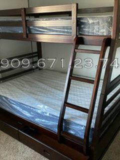 Twin/full Expresso Bunkbed W. Orthopedic Mattresses Included for Sale in Huntington Beach,  CA