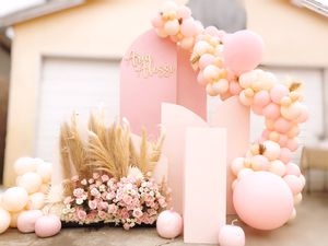 Pink backdrop, roses & pampas, pumpkins, cake stand, balloon garland for Sale in City of Industry, CA