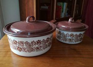 Pair of White Mid Century Modern Enamel pans for Sale in Washington, DC