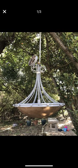 Indoor chandelier for sale: silver metal/ copper color glass for Sale in Austin, TX