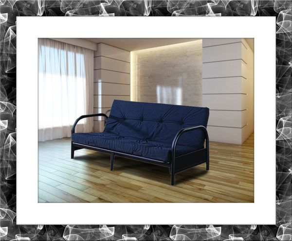 Black futon frame with mattress and delivery