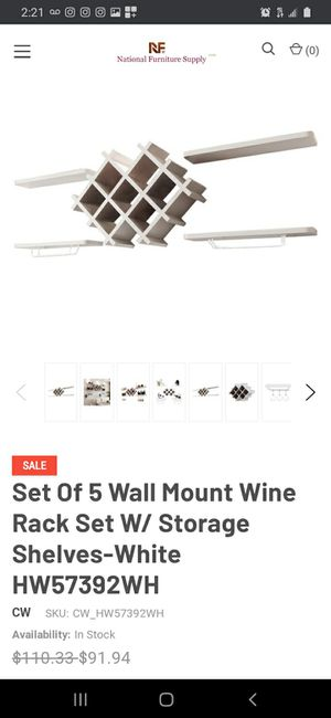 New Set of 5 Wall Mount Wine Rack Set with Storage Shelves for Sale in Long Beach, CA